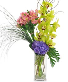 Hand tied orchids, Peruvian lilies, and hydrangea in a tall vase.