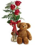 Triple Rose Vase & Teddy Bear