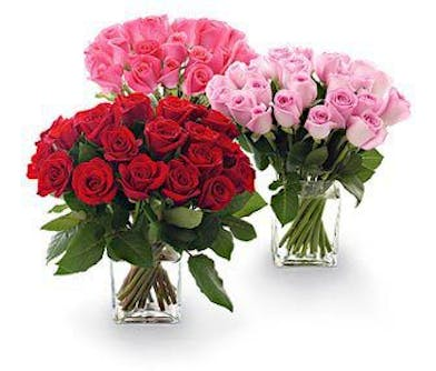 Enjoy this compact design of 25 roses in your choice of color, clustered and hand-designed in a clear glass cube.