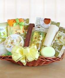 Gift basket filled with floral-inspired body lotions, shower gels and soaps.