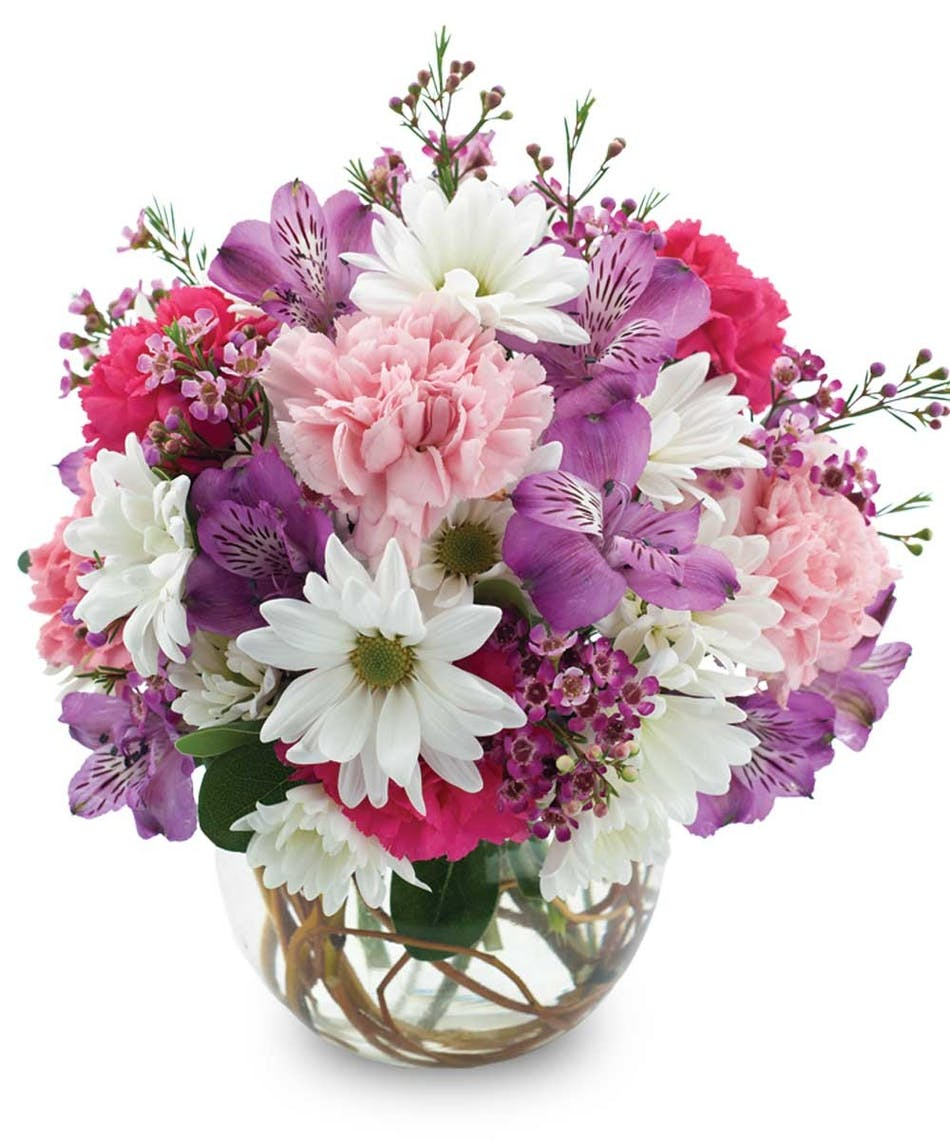 Fort worth flower delivery sweetness flowers gordon boswell flowers pink purple and white flowers in a glass bowl vase izmirmasajfo