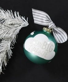 Ornament with text that says