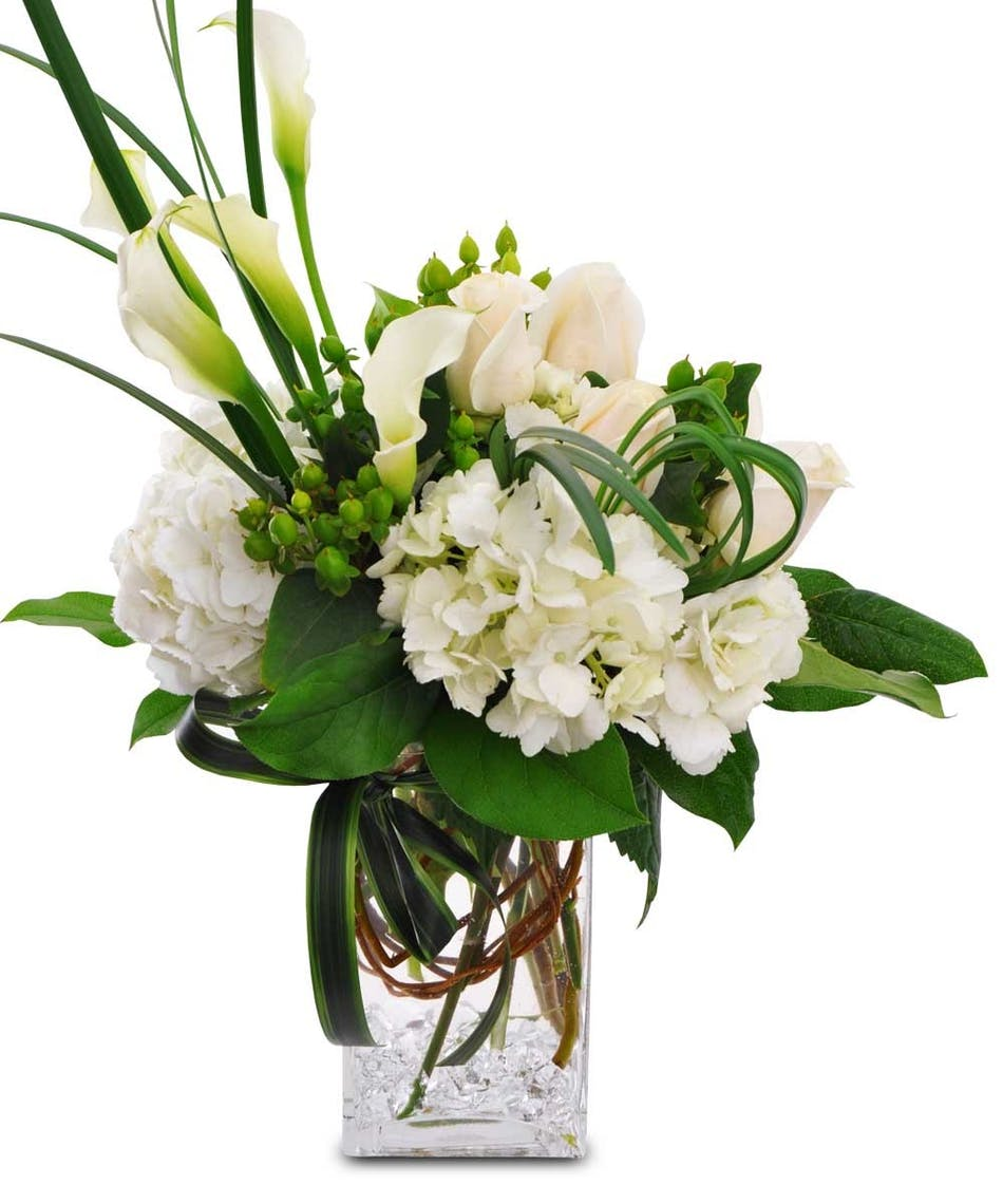 Peaceful sentiments fort worth same day flower delivery white hydrangeas white calla lilies and beautiful greens in a rectangular glass vase izmirmasajfo