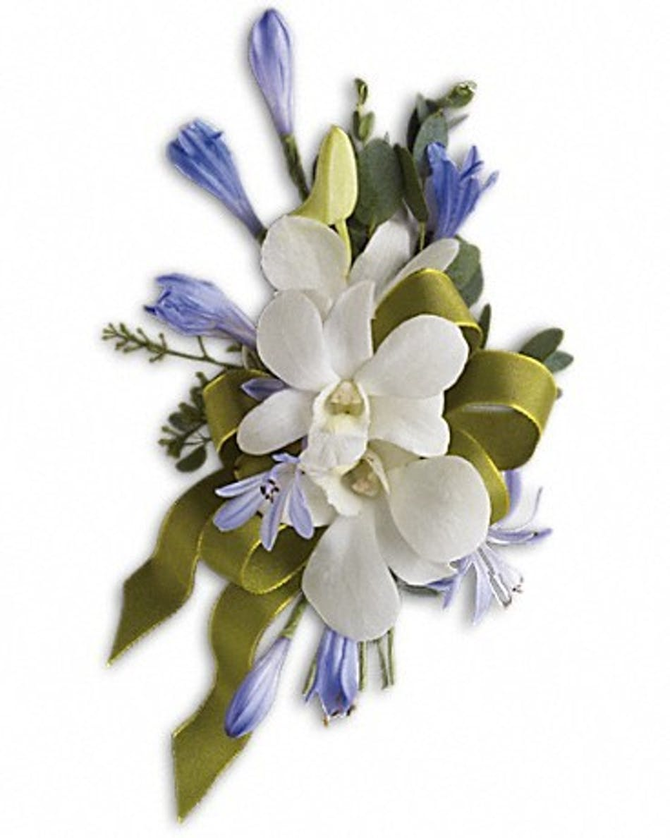 Blue And White Elegance Wrist Corsage Fort Worth Prom Flowers