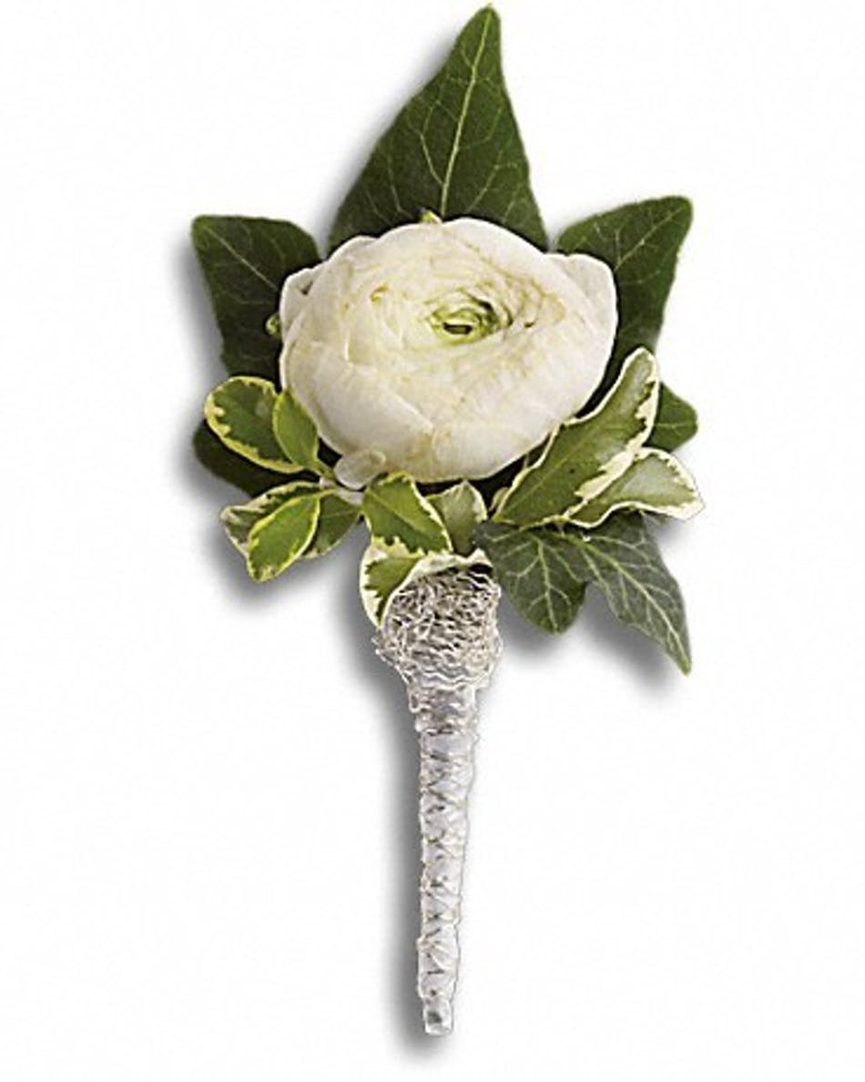 Blissful White Boutonniere Fort Worth Prom Flowers
