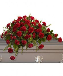 Half-casket spray of red carnations and greenery.
