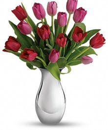 A dozen red and pink tulips presented in a silver reflections vase.