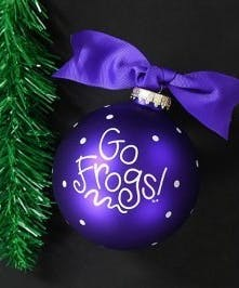 Purple TCU ornament that says