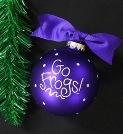 Purple TCU ornament that says
