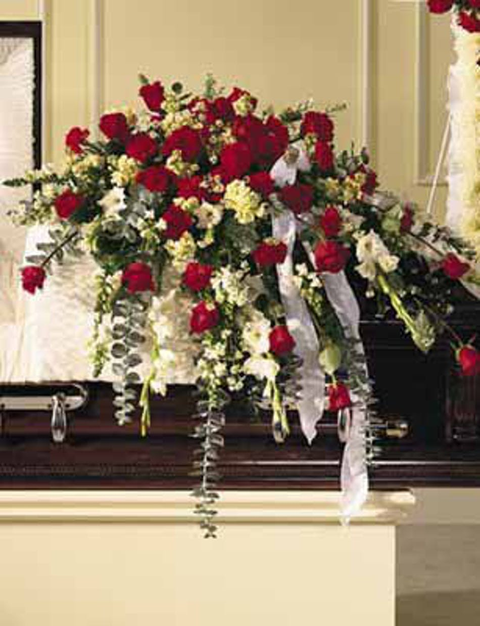 Stately regal casket spray fort worth funeral flowers casket spray of red and white blooms izmirmasajfo