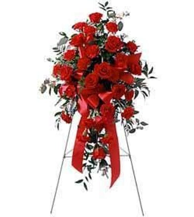 Sympathy spray of red carnations and roses accented with ribbon.