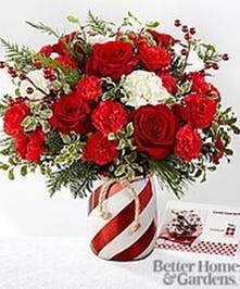 Candy-striped vase filled with red and white flowers and winter greenery