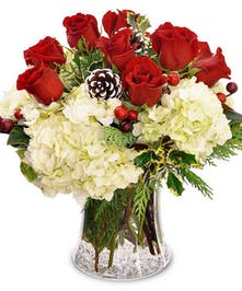 Christmas bouquet of red and white flowers, pine cones and greenery.