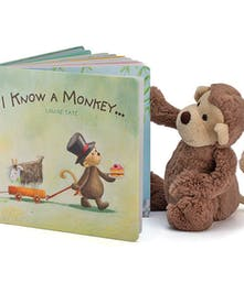 Plush monkey toy and children's book.