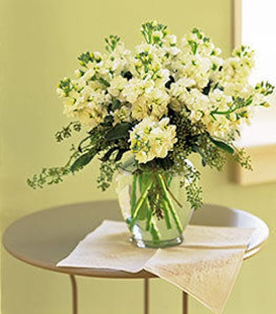 White flowers arrangement in a clear glass vase.
