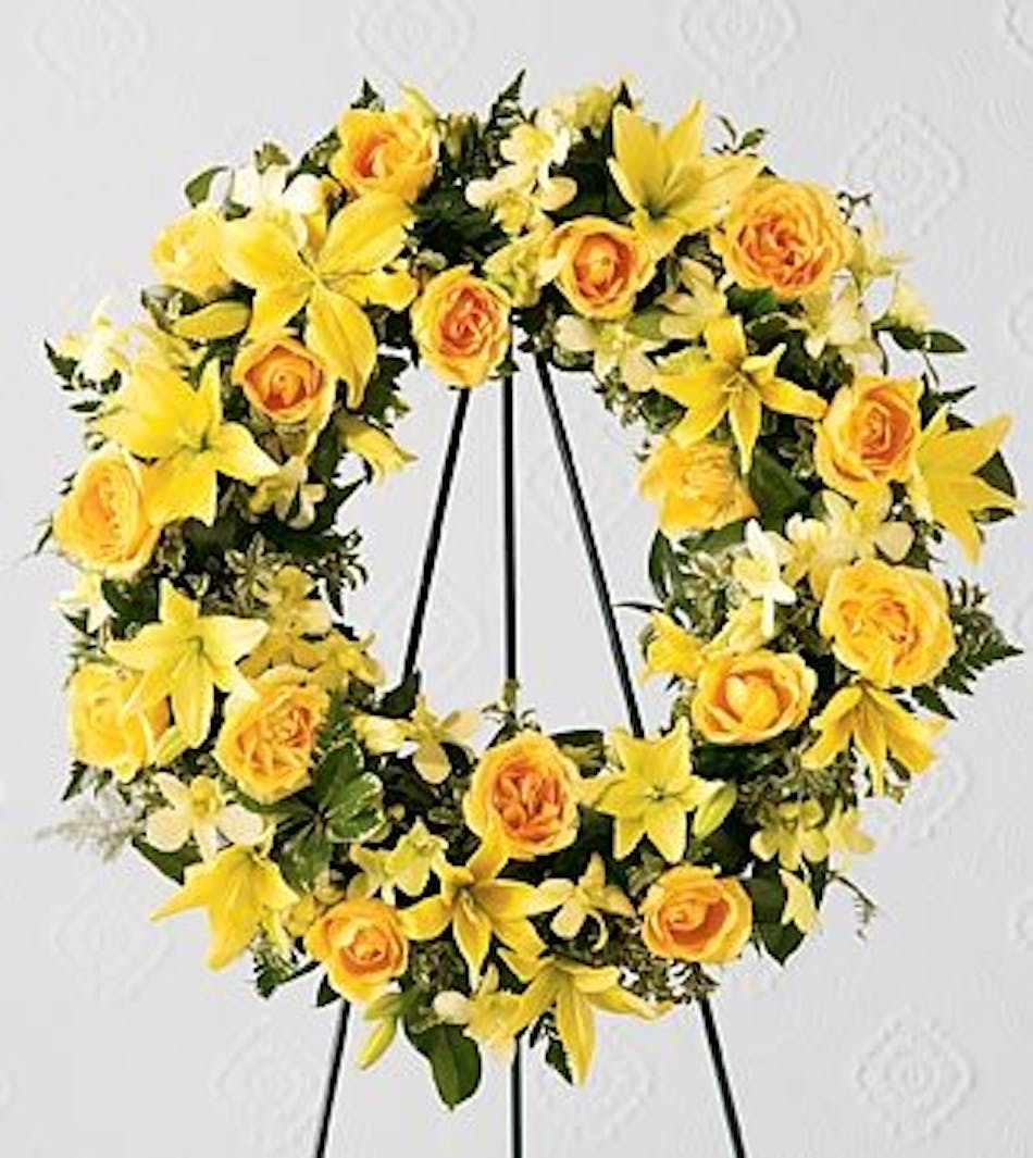 Ring of friendship wreath fort worth funeral flowers sympathy wreath of golden roses lilies and orchids with greenery izmirmasajfo