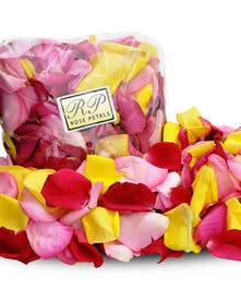 Rose petals in a variety of colors.