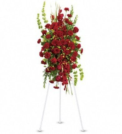 Sympathy spray of red flowers and green bells of Ireland.
