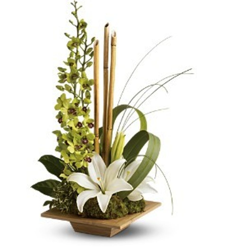 Bamboo and white dendrobium orchids in a wooden dish vase.