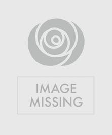 Pink daisies, roses and hydrangea in a glass vase with pink ribbon tied around it.