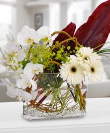 Curly willow and white flowers in a glass vase.