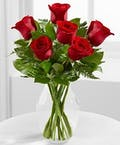 6 Red Roses Vased