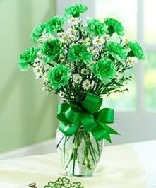 Green carnations and white flowers in a clear glass vase tied with green ribbon.