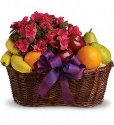 Gift basket filled with assorted fruit and a flowering azalea plant.