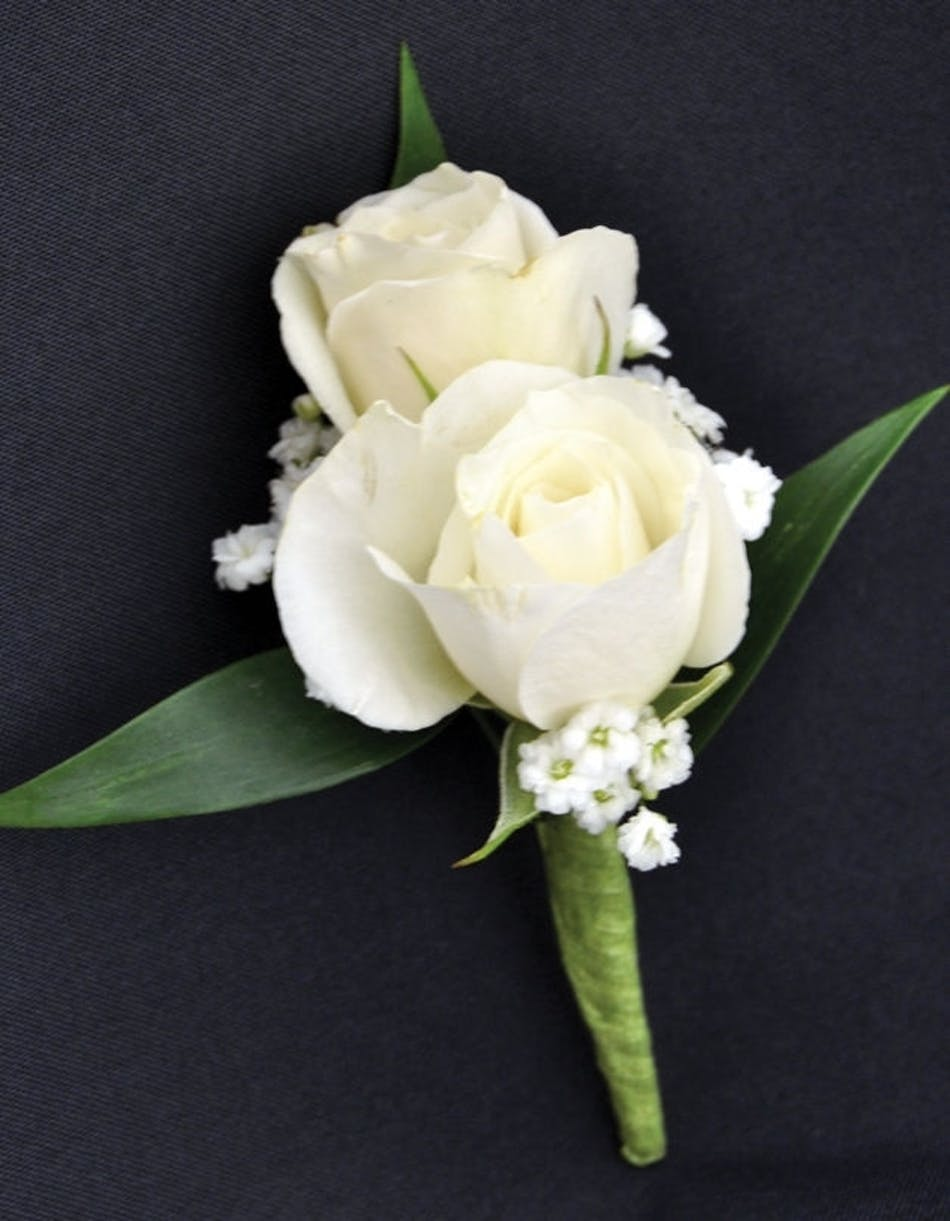 Sweetheart Spray White Roses Boutonniere