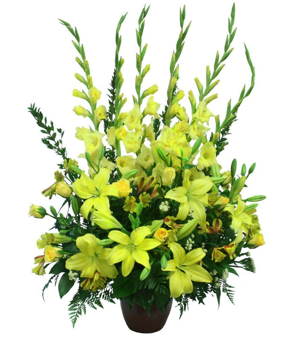 Yellow sympathy flowers same day funeral flowers fort worth izmirmasajfo